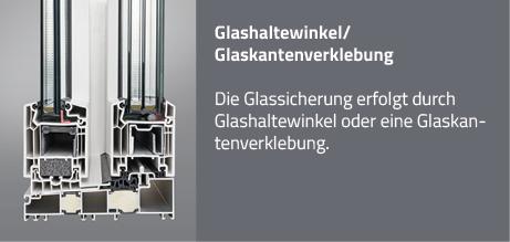 Glashaltewinkel/Glaskantenverklebung